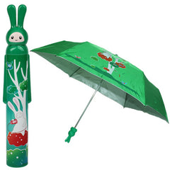 Fashion Folding Bottle Umbrella Brolly Parasol with Rabbit Shaped Case(Green)
