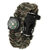 Multi-functional Outdoor Flint Nylon Braided Survival Bracelets with Compass & Whistle Length: 25cm (Camouflage)