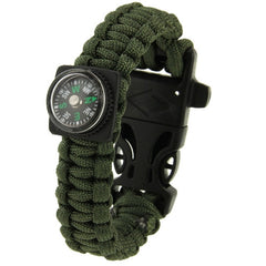 Multi-functional Outdoor Flint Nylon Braided Survival Bracelets with Compass & Whistle Length: 25cm (Army Green)