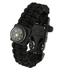 Multi-functional Outdoor Flint Nylon Braided Survival Bracelets with Compass & Whistle Length: 25cm(Black)