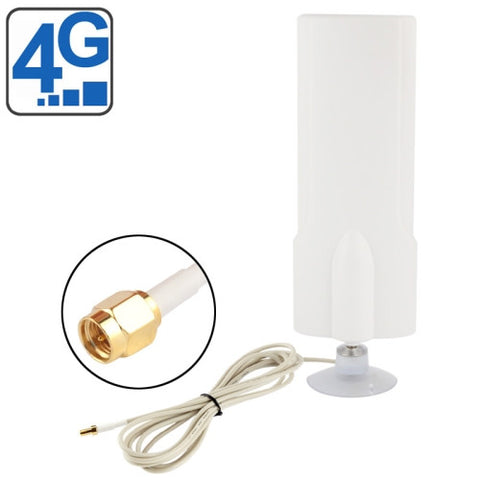 High Quality Indoor 25dBi SMA Male 4G Antenna Cable Length: 2m Size: 20.7cm x 7cm x 3cm(White)