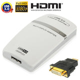 USB 3.0 to HDMI / DVI / VGA Graphic Adapter Support Full HD 1080P Expandable up to 6 Display Units(White)