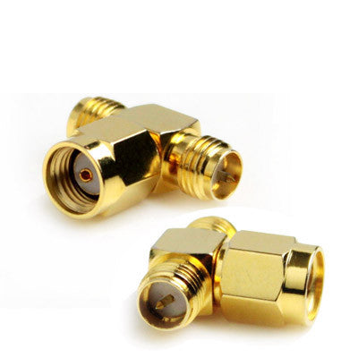 RP-SMA Male to 2 RP-SMA Female Adapter (T Type) Gold Plated