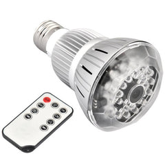 T8 E27 Bulb Style Mini 1280 x 720 IR Night Vision Voice Activated Motion Detection Hidden Lamp Camera Real Lamp with Remote Control 120 Degree Viewing Angle