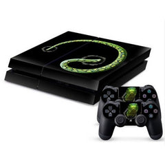 3D Green Snake Pattern Protective Skin Sticker Cover Skin Sticker for PS4 Game Console