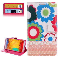 Big Flower Pattern Leather Case with Credit Card Slots & Holder for Samsung Galaxy Note III / N9000