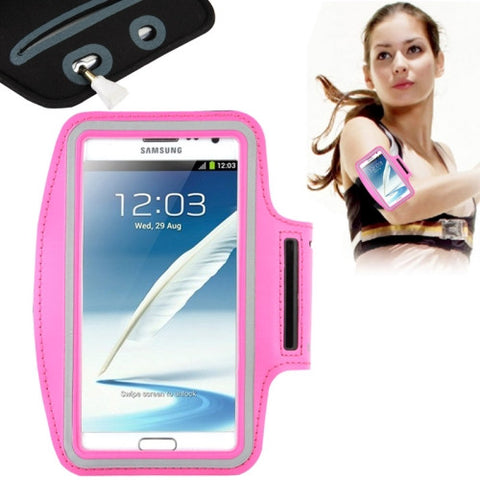 Universal PU Sports Armband Case with Earphone Hole for Samsung Galaxy Note 4 / N910 / Note III / N9000 / II / N7100 / i9220 / N7000 /  N7005 / Sony Z2 / Z1(Magenta)