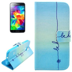 Be Happy Pattern Leather Case with Holder for Samsung Galaxy S5 / G900