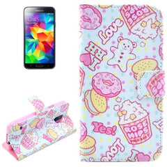 Biscuits Pattern Horizontal Flip Leather Case with Holder for Samsung Galaxy S5 mini / G800