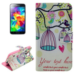 Birdcage Pattern Horizontal Flip Leather Case with Holder for Samsung Galaxy S5 mini / G800