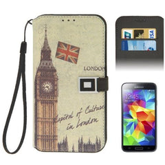 Big Ben Pattern Magnetic Buckle Leather Case with Credit Card Slots & Lanyard for Samsung Galaxy S5 / G900