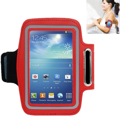 Universal PU Sports Armband Case with Earphone Hole for Samsung Galaxy S IV / i9500 / i9300 (Red)