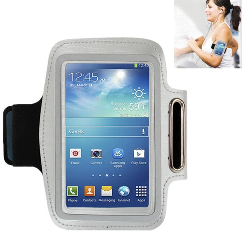 Universal PU Sports Armband Case with Earphone Hole for Samsung Galaxy S IV / i9500 / i9300 (Silver)