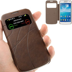 Embossing Pattern Leather Case with Call Display ID / Sleep / Wake-up Function for Samsung Galaxy S IV mini / i9190(Coffee)