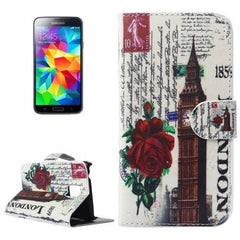 Big Ben Pattern Flip Leather Case with Holder for Samsung Galaxy S5 mini / G800