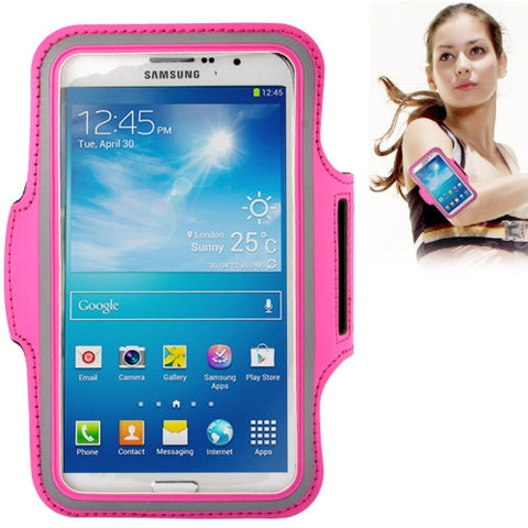 PU Sports Armband Case with Earphone Hole for Samsung Galaxy Mega 6.3 / i9200 (Magenta)