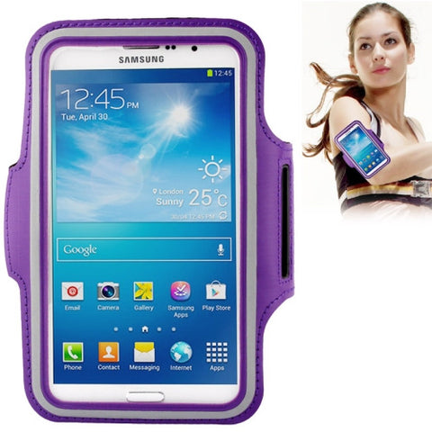 PU Sports Armband Case with Earphone Hole for Samsung Galaxy Mega 6.3 / i9200 (Purple)