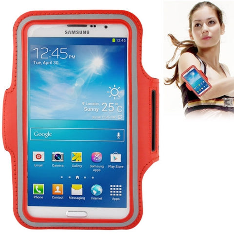PU Sports Armband Case with Earphone Hole for Samsung Galaxy Mega 6.3 / i9200 (Red)