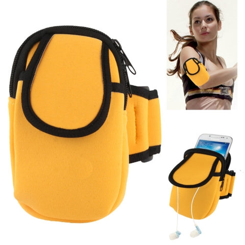 Thicken Nylon Fabric Double Layers Sports Armband Case for Samsung Galaxy S IV mini / i9190 / SIII mini / i8190 / i8260  (Yellow)