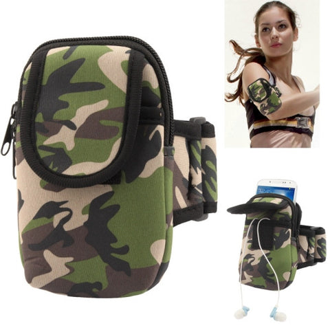 Camouflage Pattern Thicken Nylon Fabric Double Layers Sports Armband Case for Samsung Galaxy S IV mini / i9190 / SIII mini / i8190 / i8260
