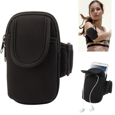 Thicken Nylon Fabric Double Layers Sports Armband Case for Samsung Galaxy Note II / N7100 / i9220  (Black)