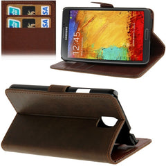 Crazy Horse Texture Leather Case with Credit Card Slots & Holder for Samsung Galaxy Note III (Coffee)