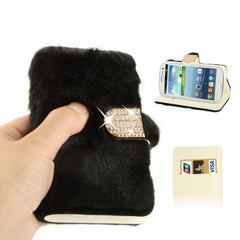 Diamond Encrusted Winter Warm Fur Leather Case with Credit Card Slot & Holder for Samsung Galaxy S III / i9300 (Black)