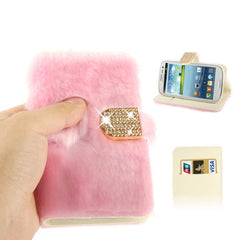 Diamond Encrusted Winter Warm Fur Leather Case with Credit Card Slot & Holder for Samsung Galaxy S III / i9300 (Pink)