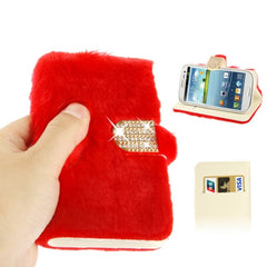 Diamond Encrusted Winter Warm Fur Leather Case with Credit Card Slot & Holder for Samsung Galaxy S III / i9300 (Red)