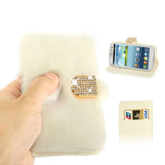 Diamond Encrusted Winter Warm Fur Leather Case with Credit Card Slot & Holder for Samsung Galaxy S III / i9300(White)