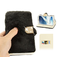 Diamond Encrusted Winter Warm Fur Leather Case with Credit Card Slot & Holder for Samsung Galaxy Note II / N7100 (Black)