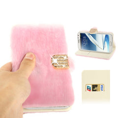 Diamond Encrusted Winter Warm Fur Leather Case with Credit Card Slot & Holder for Samsung Galaxy Note II / N7100 (Pink)