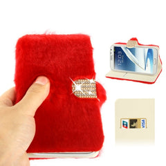 Diamond Encrusted Winter Warm Fur Leather Case with Credit Card Slot & Holder for Samsung Galaxy Note II / N7100 (Red)
