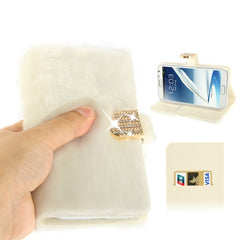 Diamond Encrusted Winter Warm Fur Leather Case with Credit Card Slot & Holder for Samsung Galaxy Note II / N7100 (White)