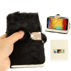 Diamond Encrusted Winter Warm Fur Leather Case with Credit Card Slot & Holder for Samsung Galaxy Note III / N9000 (Black)