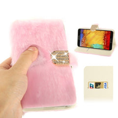 Diamond Encrusted Winter Warm Fur Leather Case with Credit Card Slot & Holder for Samsung Galaxy Note III / N9000 (Pink)