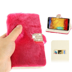 Diamond Encrusted Winter Warm Fur Leather Case with Credit Card Slot & Holder for Samsung Galaxy Note III / N9000 (Magenta)