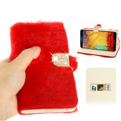 Diamond Encrusted Winter Warm Fur Leather Case with Credit Card Slot & Holder for Samsung Galaxy Note III / N9000 (Red)