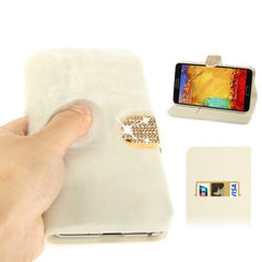 Diamond Encrusted Winter Warm Fur Leather Case with Credit Card Slot & Holder for Samsung Galaxy Note III / N9000 (White)