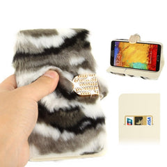 Camouflage Texture Diamond Encrusted Winter Warm Fur Leather Case with Credit Card Slot & Holder for Samsung Galaxy Note III / N9000