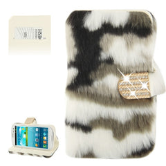 Diamond Encrusted Winter Warm Fur Leather Case with Credit Card Slot & Holder for Samsung Galaxy S III / i9300