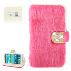 Diamond Encrusted Winter Warm Fur Leather Case with Credit Card Slot & Holder for Samsung Galaxy S III / i9300 (Magenta)