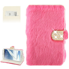 Diamond Encrusted Winter Warm Fur Leather Case with Credit Card Slot & Holder for Samsung Galaxy Note II / N7100 (Magenta)