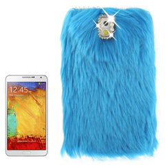 Diamond Encrusted Winter Warm Fur Plastic Case for Samsung Galaxy Note III / N9000 (Blue)