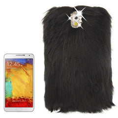 Diamond Encrusted Winter Warm Fur Plastic Case for Samsung Galaxy Note III / N9000 (Black)
