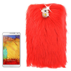 Diamond Encrusted Winter Warm Fur Plastic Case for Samsung Galaxy Note III / N9000 (Red)