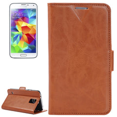 Crazy Horse Texture Leather Case with Credit Card Slots & Holder for Samsung Galaxy S5 / G900 (Coffee)