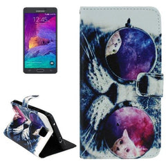 Bespectacled Cat Pattern Horizontal Flip Leather Case with Holder for Samsung Galaxy Note 4