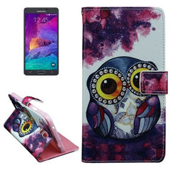 Big Eyes Owl Pattern Horizontal Flip Leather Case with Holder for Samsung Galaxy Note 4
