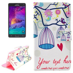 Bird Cage Pattern Leather Case with Holder & Card Slots & Money Pocket for Samsung Galaxy Note 4